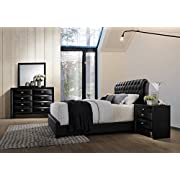 Roundhill Furniture Blemerey 110 Wood Bonded Leather Bed Group with Queen Bed, Dresser, Mirror and Night Stand, Black