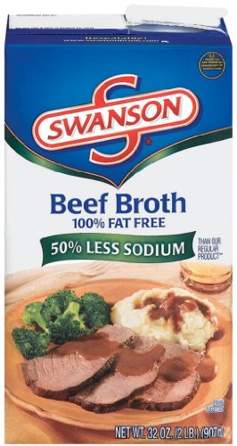 Swanson Low Sodium Beef Broth, 32 Ounce Cartons (Pack of 12)