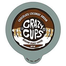 Crazy Cups Decaf Chocolate Coconut Dream Flavored Coffee Single Serve Cups for Keurig K Cups Brewer, 22 Count