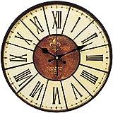 YESURPRISE Pendule Murale en Bois MDF Rond Horloge DIY Vintage Numération romaine 014D