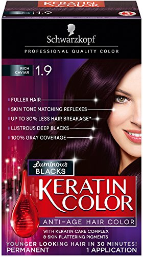 Schwarzkopf Keratin Hair Color, Rich Caviar 1.9, 2.03 Ounce (Purple Red Hair Dye compare prices)
