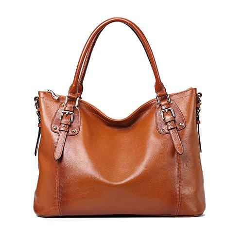 Kattee Vintage Genuine Soft Leather Large Tote Shoulder Bag Brown