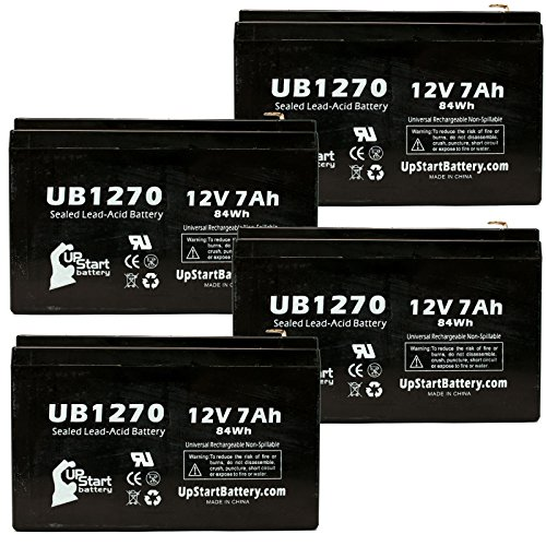 4X Pack - Altronix Al600Ul3 Battery - Replacement Ub1270 Universal Sealed Lead Acid Battery (12V, 7Ah, 7000Mah, F1 Terminal, Agm, Sla) - Includes 8 F1 To F2 Terminal Adapters