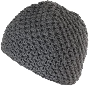 Nirvanna Designs CH612 Crochet Beanie with Fleece, Dark Grey