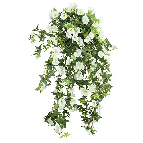 Morning Glory Artificial Silk Flowers Hanging Plant Vine for DIY Garland Home Party Wedding Garden Decor Pack of 2 (White)