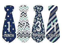 Months in Motion 702 Monthly Baby Stickers Necktie Tie Baby Boy Months 1-12