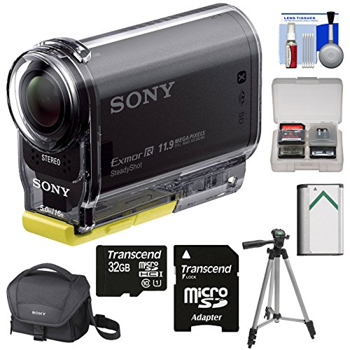 Sony Action Cam HDR-AS20 Wi-Fi 1080p HD Video Camera Camcorder with 32GB Card + Battery + Case + Tripod + Accessory Kit