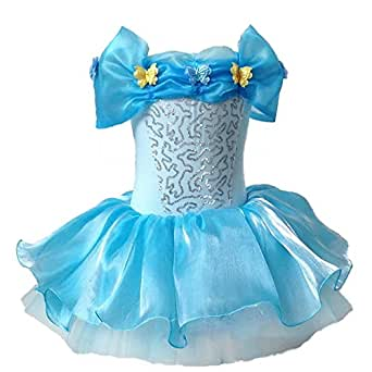 Party Kids Cinderella Princess Tutu Ballet Fancy Blue Dress Baby Girl 2-7 Years