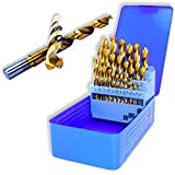 Professional Grade 29 Piece Titanium Drill Bit Set by Neiko