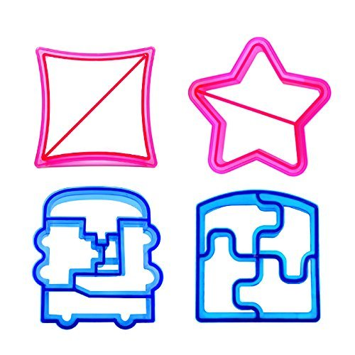 Cute Sandwich Cutter | Fun 4 Pcs Blue & Pink Bread Cookie Cake Crust Cutter for Kids | Adorable Star Transportation Puzzle Square Designs | 869.2 (Sandwich Cutter Square compare prices)
