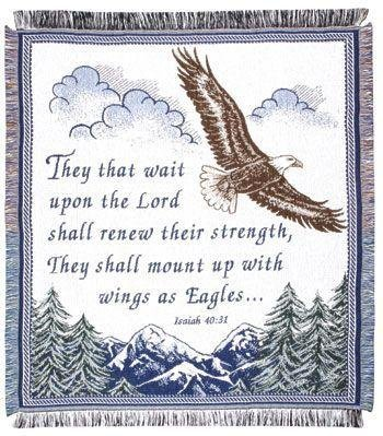 "Isaiah 40:31 Eagle Mountain Afghan Throw Blanket 48"" X 60"" front-936140"