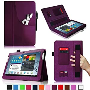 Fintie Folio Plus Leather Case Cover with Elastic Hand Strap/Front Pocket/ Multiple Card Slots/ Stylus Holder for Samsung Galaxy Tab 2 10.1 inch Tablet - Purple