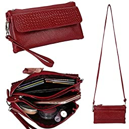 YALUXE Women\'s Large Capacity Leather Smartphone Wristlet Clutch with Shoulder Strap Red