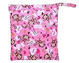 Bebé impermeable Zipper Bolsa lavable reutilizable gamuza de bebé bolsa de pañales pink monkey
