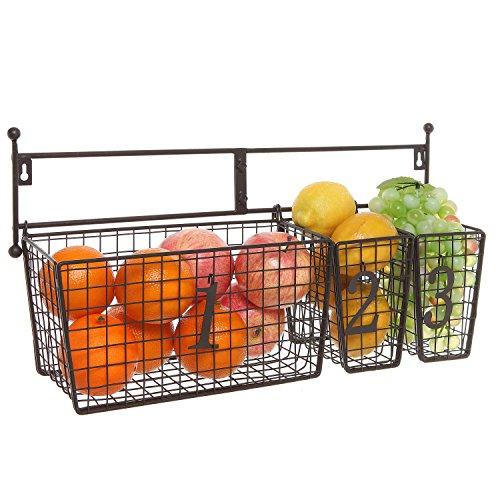 Wall Mounted Black Metal Wire Mesh Numbered Storage Basket Set / Multipurpose Accessory Organizer Rack (Wall Hanging Fruit Basket compare prices)