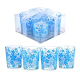 BLOWOUT Blue Tealight Candle Holders w/Floral Design (4 Pack)