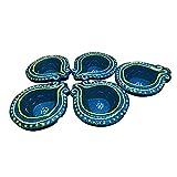 Sanskrite India Handmade Terracotta Diwali Diya Multicolor Set Of 5 With Cotton Wicks Diwali Festival Gift Décor