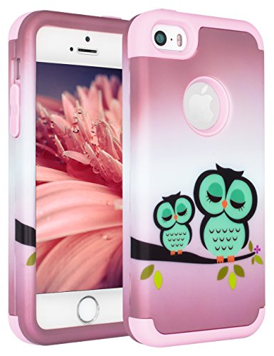 iPhone SE Case,iPhone 5S Case,iPhone 5C Case,SLMY(TM) [Cute Owls Series] Hybrid Impact Shockproof Defender Case Cover for Apple iPhone 5 5S 5C SE Purple (Iphone 5s Case Protective Owl compare prices)