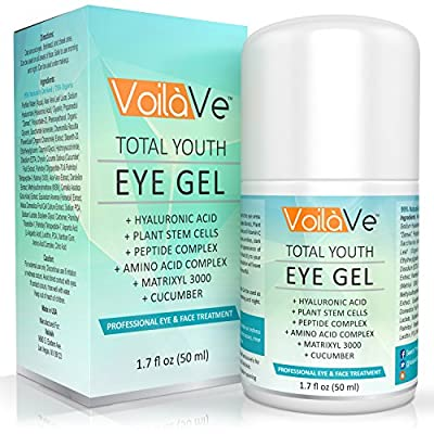 Total Youth Under Eye Gel Anti-Aging Eye Cream with Hyaluronic Acid and Cucumber for Dark Circles, Puffiness, and Wrinkles Effective Eye Treatment to Diminish Crows Feet and Eye Bags, 1.7 fl. oz.