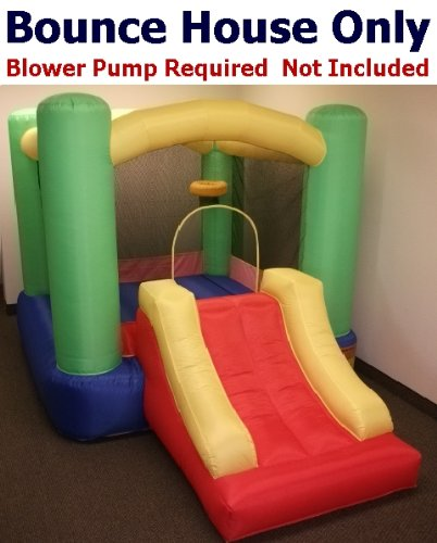 "Bounce House Only - My Bouncer Little Slide Castle Bounce 118"" L X 78"" W X 72"" H Ball Pit Popper W/ Built-In Ball Hoop & Slide (Blower Pump Not Included)"