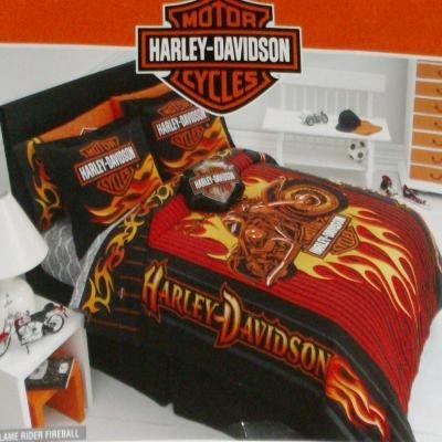 Harley Davidson Motorcycle Flame Twin Bed Comforter