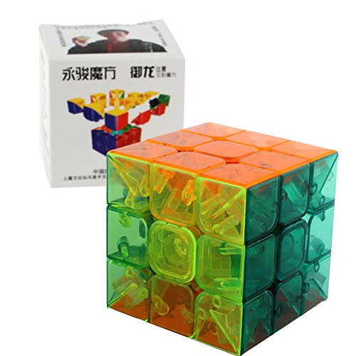 D-FantiX Yj Yulong Speed Cube 3x3 Stickerless Magic Cube Puzzles with Free Stand Transparent