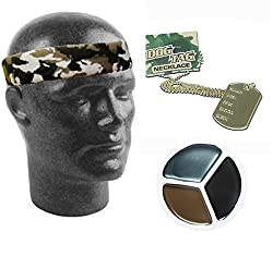 Army Fancy Dress Camouflage Headband Dog Tags Face Paint Mens Ladies Unisex