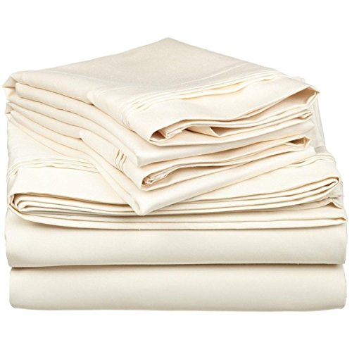 "650 Tc Egyptian Cotton Bed Sheets 4 Piece Set 10"" Deep Pocket Twin Xl Ivory Solid (1 Fitted Sheet+1 Flat Sheet+2 Pillowcase) back-767815"