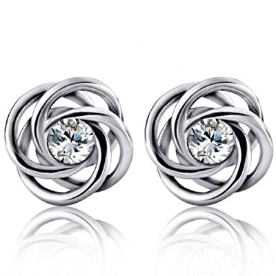 ELBONTEK S925 Sterling Silver Austrian Crystal Swarovski Element Winding Diamond Stud Earring For Women