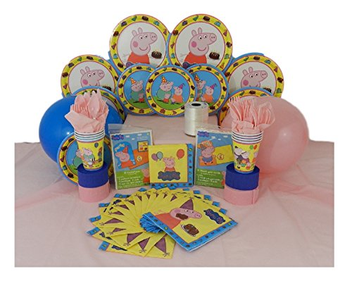 Peppa Pig Deluxe Birthday Party Pack for 8 - Complete 150 Piece Bundle