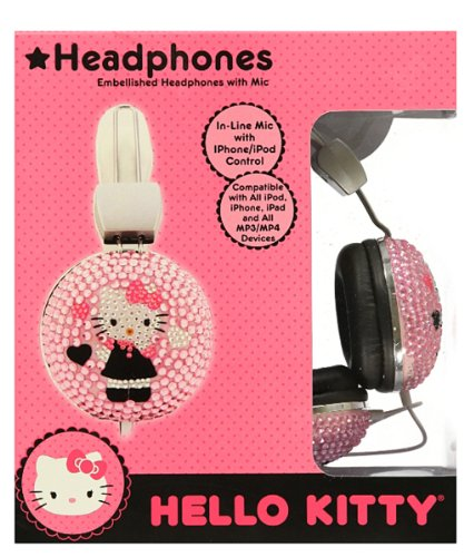 Hello Kitty Bejeweled Headphones With Mic (Pink, Bling, Embellished, Over Ear)