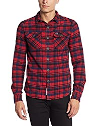 Superdry Men's Casual Shirt(5054265726835_M40017ENF2_S_Ontario Navy Check)
