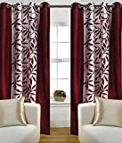 GeoNature Polyester Window Maroon kolaveri Curtains set of 2 Size (4x5Feet) G2CR5F-91