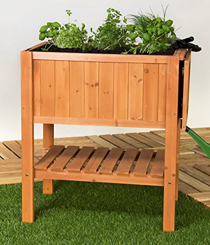 hochbeet pflanztisch kr uterbeet floralis tannenholz mit ablage f r balkon und terrasse. Black Bedroom Furniture Sets. Home Design Ideas