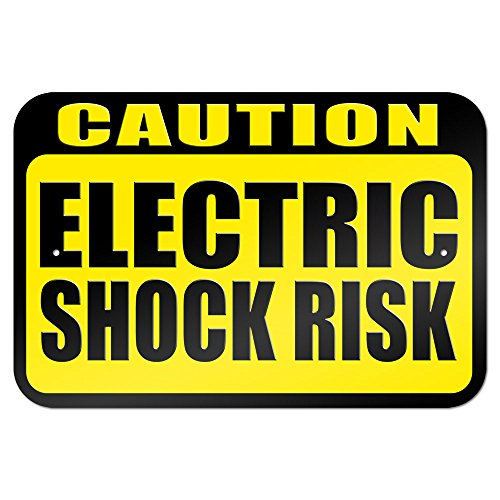 """Caution Electric Shock Risk 9"""" X 6"""" Metal Sign"""