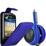 ONX3 4-IN-1 LUXURY GIFT SET Blackberry Curve 9380 Blue Leather Flip Case + Blue High Capacitive Stylus Pen + Blue 3.5mm Basebuddy Capsule Speaker + LCD Screen Protector Guard