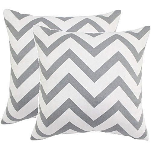 "JWstyle1000 2pcs 18"" X 18"" Square Chevron Stripe Throw Pillow Cover Cushion Case Home Decoration Gray"
