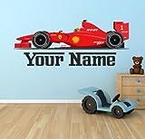 Own F1 Ferrari Car Personalised Wall Sticker Art Vinyl 100cm (w) x 40cm (h) Tr39