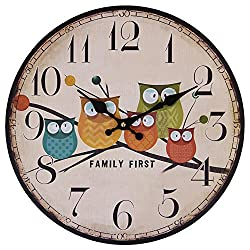 Cute Wall Clock, 12 Eruner Modern Family Animated Cartoon Decoration 12-Inch Wood Clock Painted Owl Lovely Style Silent Quartz Movement #12888 for Child Kid's Room Decal(Owl, M1)