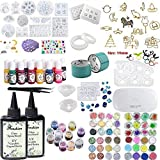 2x100ML Crystal Epoxy Resin with 21 Resin Mold,48Pcs Decoration,1 Lamp Tweezer,13 Color Liquid Pigment,12 Glitter Sequins,17 Open Bezel Metal with Tape for Jewelry Earrings Necklace Bracelet Making (Tamaño: 200Resin+60Pcs+21Mold+13SJ+17Bezel+Lamp)