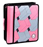 Case-It Z-Binder Two-in-One 1.5-Inch D-Ring Zipper Binder, Pink Print (Z-175-PNK-P)