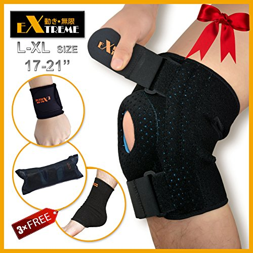 Knee Brace Support by Motion Infiniti for ACL, Meniscus Tear and Arthritis. Love It Or Your. Best Open Patella Knee Stabilizer Support - Comes with Large Size for Men and Women (Foam Cooler Inserts compare prices)