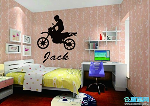 Customer-made Personalized Motorcycle Wall Sticker Boys Name Decal Kids Room Children Name Wall Decor -You Choose Name=9888 (Customer Pictures compare prices)