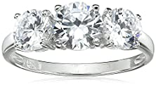 buy Sterling Silver Round Cut Three-Stone Cubic Zirconia Ring (2.3 Cttw), Size 9