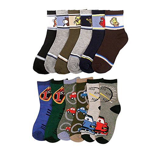 12 Pairs Assorted Kids Socks Size Ages 2-3 Years Animal Print Boys 2T 3T Toddler front-582668