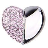 niceeshop(TM) 8GBハーフダイヤモンドとハーフアルミ合金ハートクリスタルUSBフラッシュドライブ(ピンクネックレスが付き)