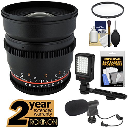 Rokinon 16Mm T/2.2 Cine Wide Angle Lens With 2 Year Ext. Warranty + Filter + Led Video Light + Microphone Kit For Nikon D3200, D3300, D5200, D5300, D7100, D610, D800, D4S Cameras