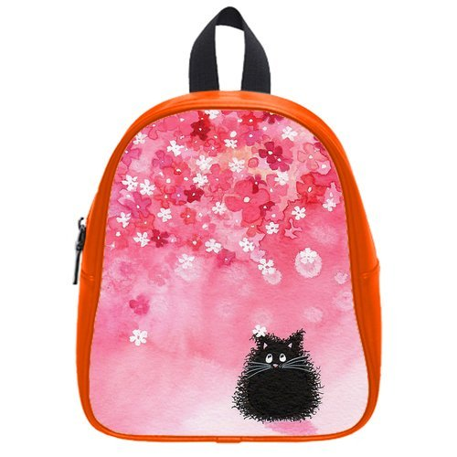 Fashion High-Grade Pu Leather Cats Under Falling Petals School Book Travel Bag Backpack Daypack For Boys Girls Small