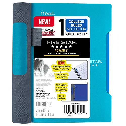 Five Star Advance Spiral Notebook-Small Journal Size, 1 Subject, 7 x 5 Inch, College Ruled, Teal (73153) (Advance Composition compare prices)