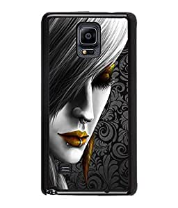 Fuson Style Girl Pattern Back Case Cover for SAMSUNG GALAXY NOTE 4 - D3838